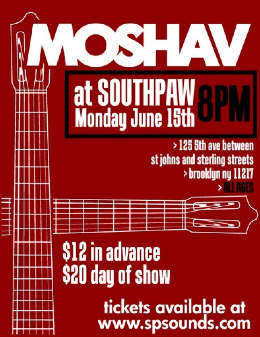MOSHAV BAND at SOUTHPAW Tonight!