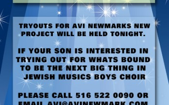 Tryouts Tonight for New Group from Avi Newmark!