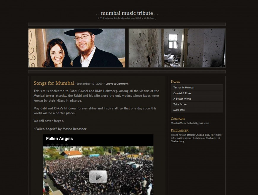"1 Year Anniversary – ""MumbaiMusicTribute.com"" – A Tribute to Rabbi Gavriel and Rivka Holtzberg"""