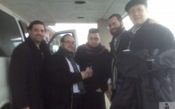 Shea Rubenstein, Ozer Babd, Shua Kessin, Yanky Katina & Yisroel Lamm, leaving to rehersal