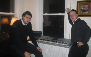 Elimelech Blumstien & Yossi Muller making a demo