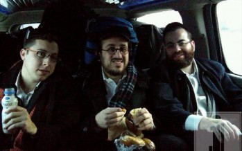 Shua Kessin , Lipa & Yanky Katina Catching some breakfast on the way to the airport in the limo