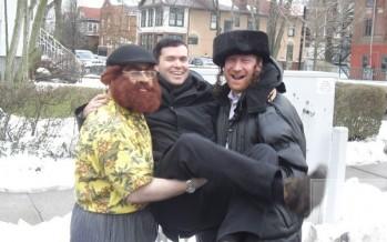 Yossi Tyberg and Gershy Moskowitz with Ohad on Purim