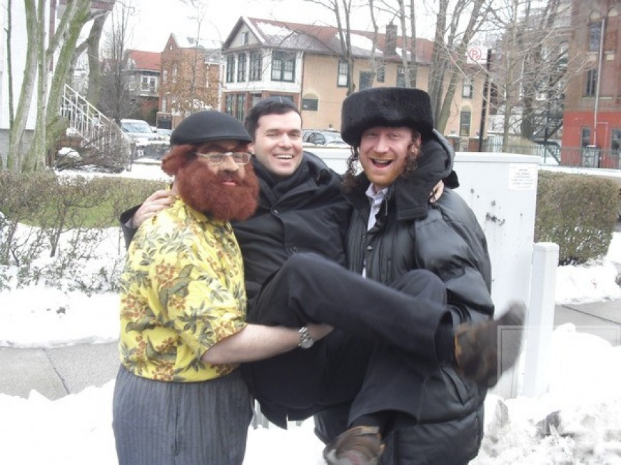 Yossi Tyberg and Gershy Moskowitz with Ohad on Purim