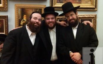 Shloime Taussig, Yisroel Werdyger and Gershy Moskowitz at a mesibas hachnusas kallah