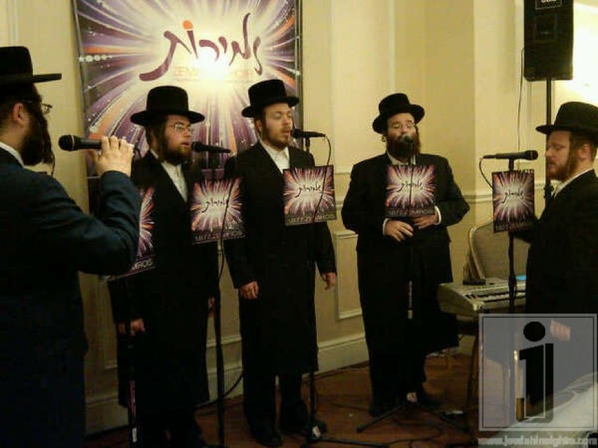 Shloime Taussig singing with the Zemiros Choir