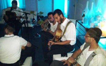 Beri Weber, Yitzchak Fuchs, Eli beer, Chaim Lowey, Chilu Pozen, and more at a Kumzits in Scoop