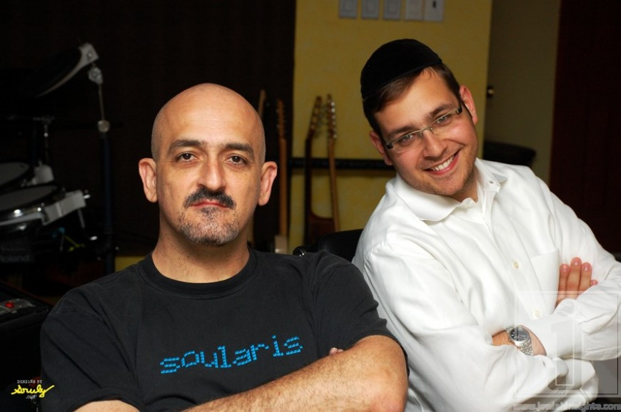 Dovid Gabay and Eli Loshinsky working on the final mix for new CD Eretz Yisroel