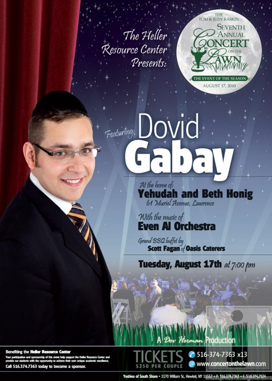 Dovid Gabay to Sing at this Years Concert on the Lawn!