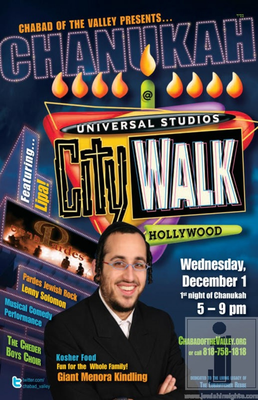 Chabad of the Valley presents:Chanukah Universal Studios CityWalk with Lipa, Pardes & Lenny Solomon