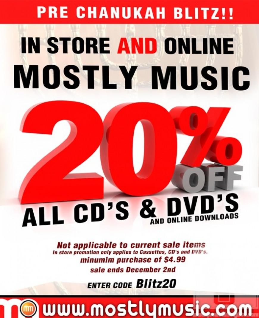 MostlyMusic.com Having 20% Off Blitz!
