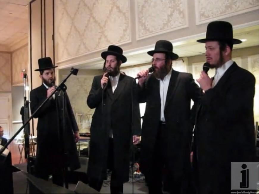 Isaac Honig sings at a Chupah