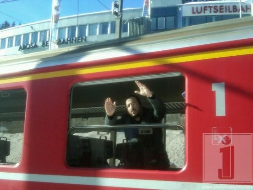 Lipa on the train in Switzerland
