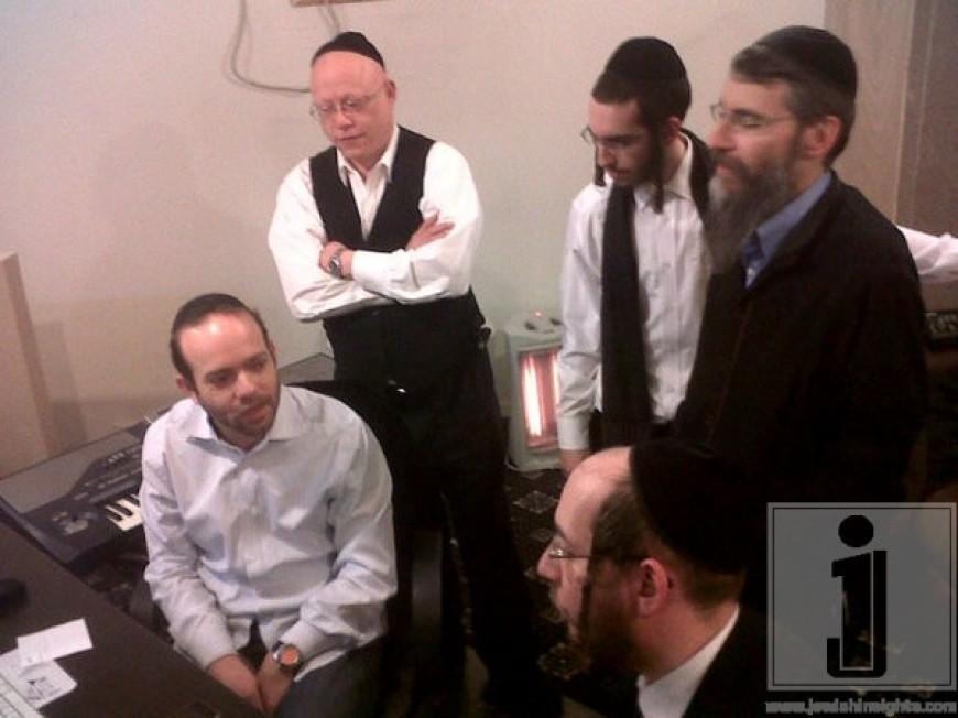Avraham Fried, The Shira Choir & Ruli Ezrachi in the studio working on Avremel's album