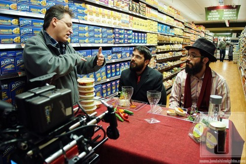 On set with Director Larry Guterman with Brothers Bentzy and Shmuel Marcus