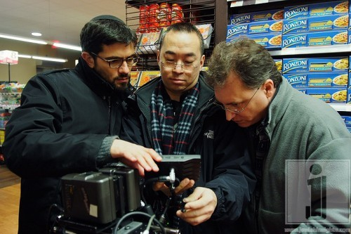 Producer Chaim Marcus with first AC Rob Lau and director Larry Guterman