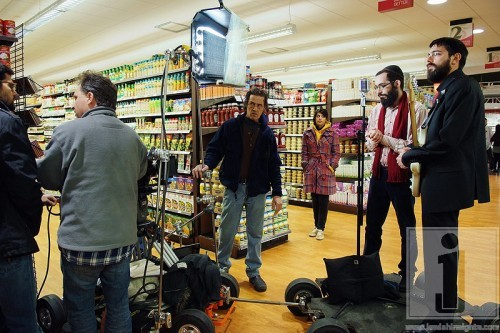 Setting up a double dolly shot