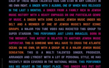 Can you guess from this final ad who will be performing at the OHEL- The Music We Love Concert???