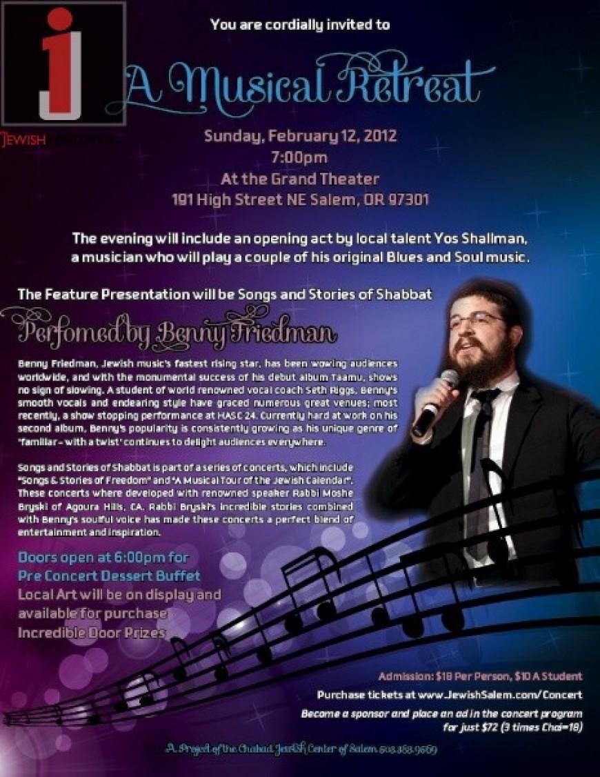Benny Friedman to perform in Salem Oregon!