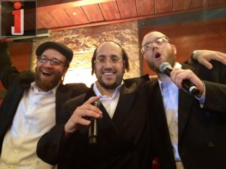 Yoely Lebovits, Lipa and Yumi Lowy having fun at a wedding