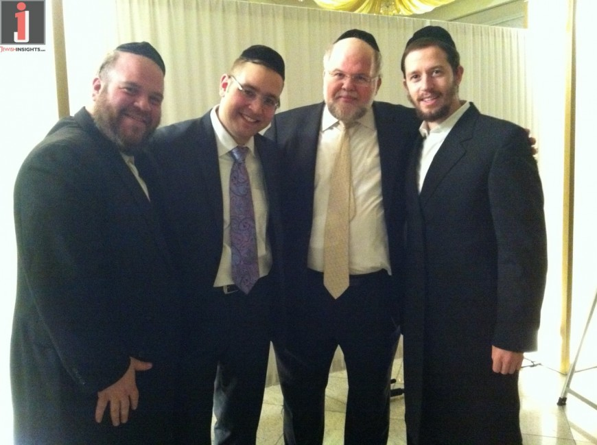 Dovid Gabay, Sheya Mendlowitz, Shloime Gertner and Gershy Moskowitz at a recent Simcha.