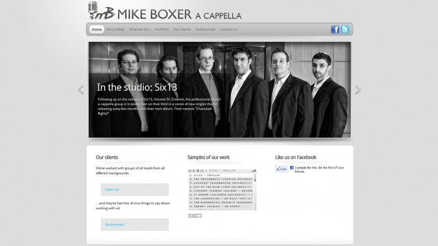 Mike Boxer Launches A Cappella Website!