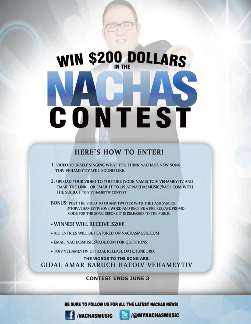 New NACHAS Song Coming: PLUS – Win $200 In The Nachas Contest! Enter Today!