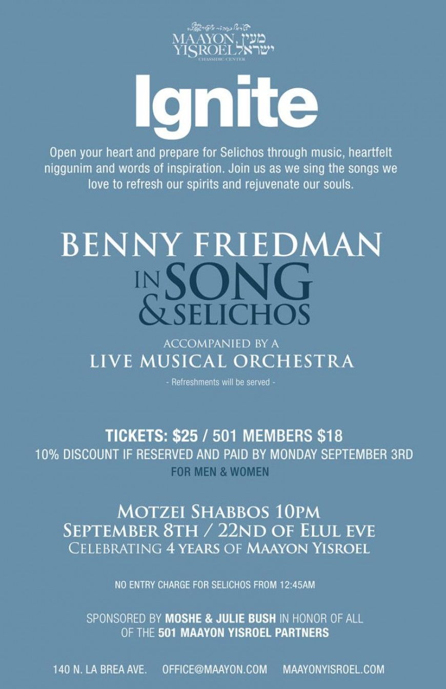 Benny Friedman in Song & Selichos, A Night of Music and Inspiration.