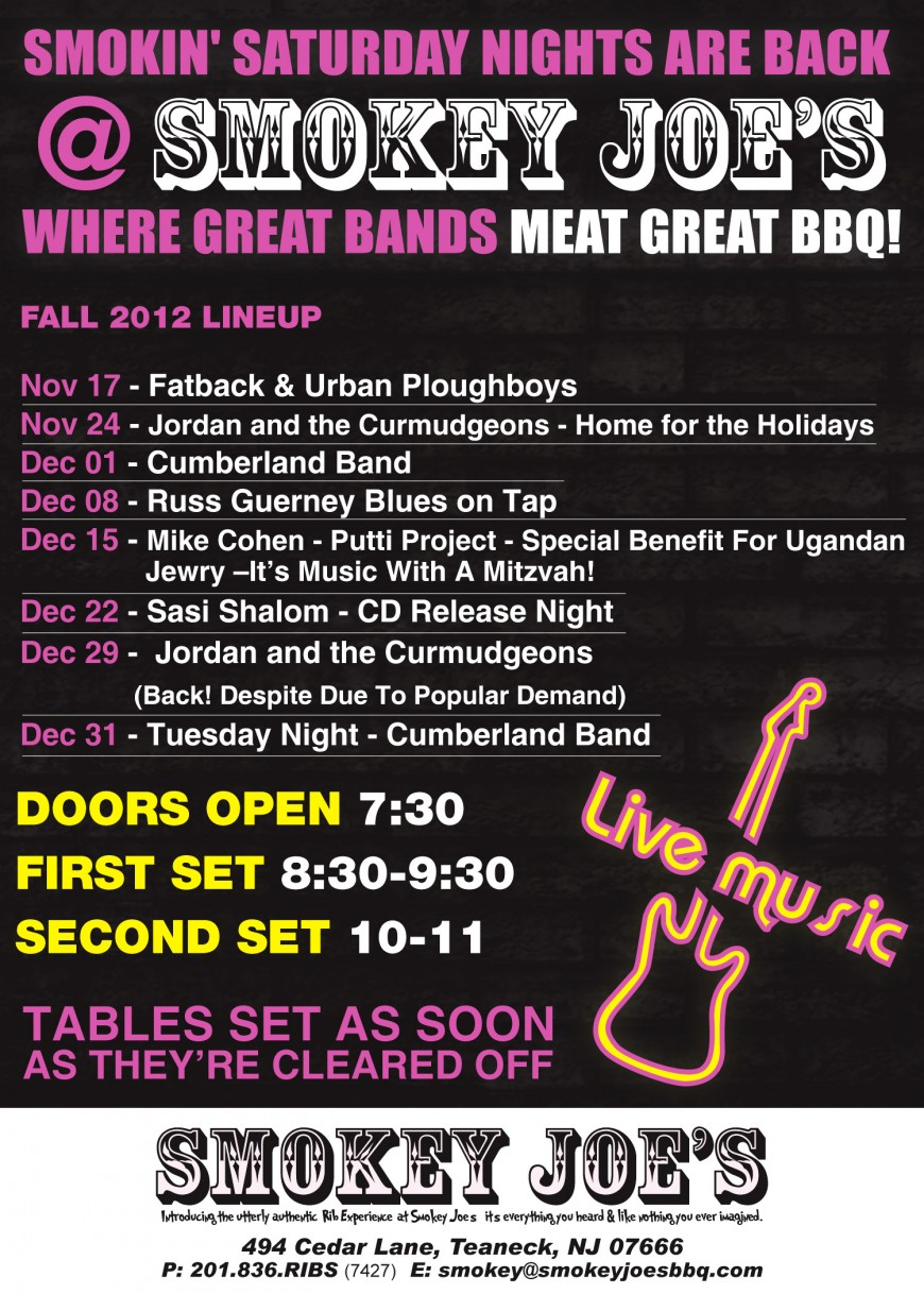 SMOKEY JOE'S – Smokey Saturday Nights Are Back: Where Great Bands Meat Great BBQ!
