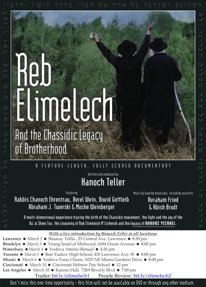 "Hanoch Teller Presents: ""Reb Elimelech and the Chassidic Legacy of Brotherhood"" Documentary Trailer"