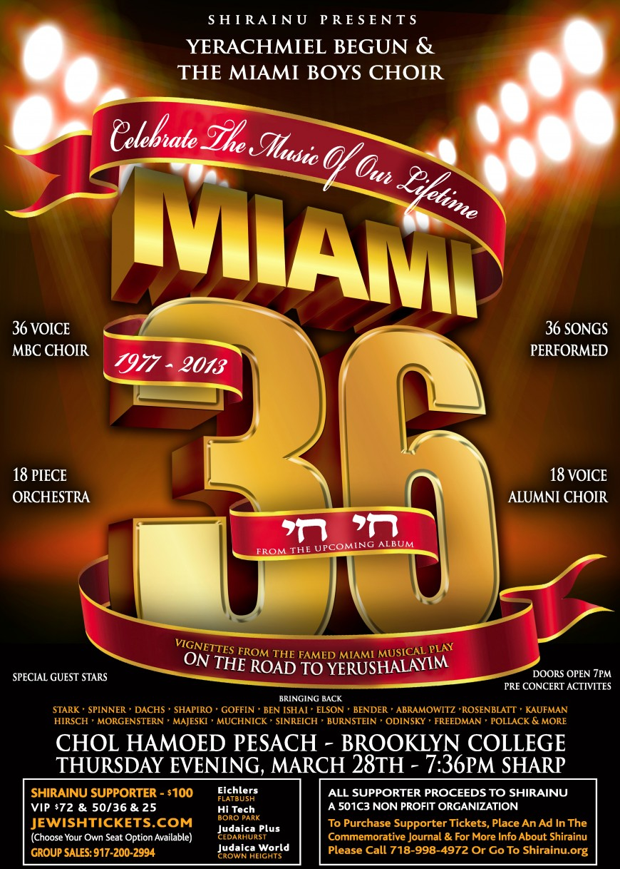 MIAMI 36 – CHAI CHAI A MAJOR MILESTONE IN JEWISH MUSIC!
