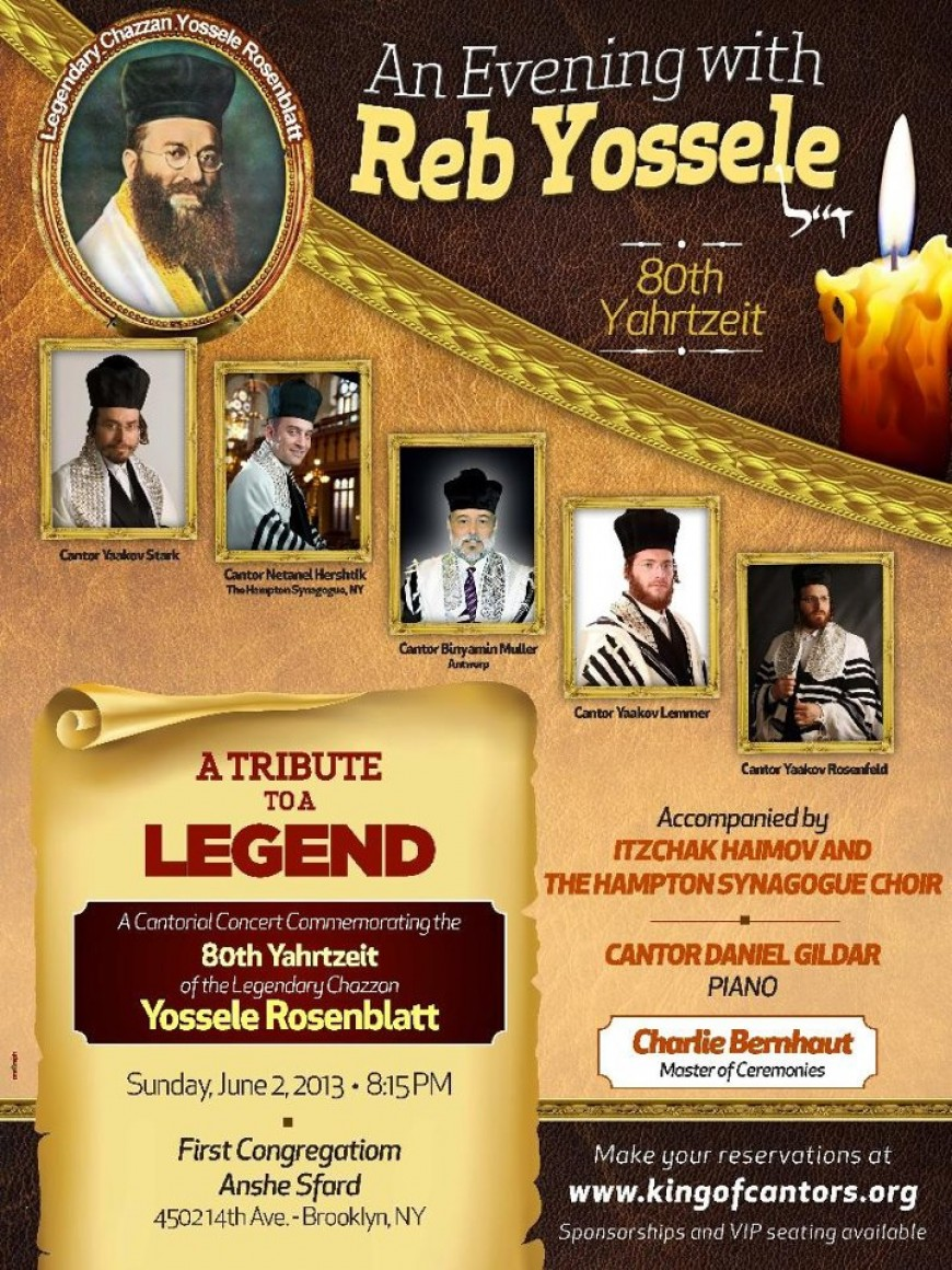 An Evening with Reb Yossele 80th Yahrtzeit with Stark, Hershtik, Muller, Lemmer & Rosenfeld