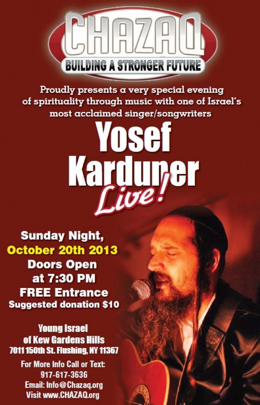 Chazaq presents yosef karduner live jewish insights - Young israel of kew garden hills ...
