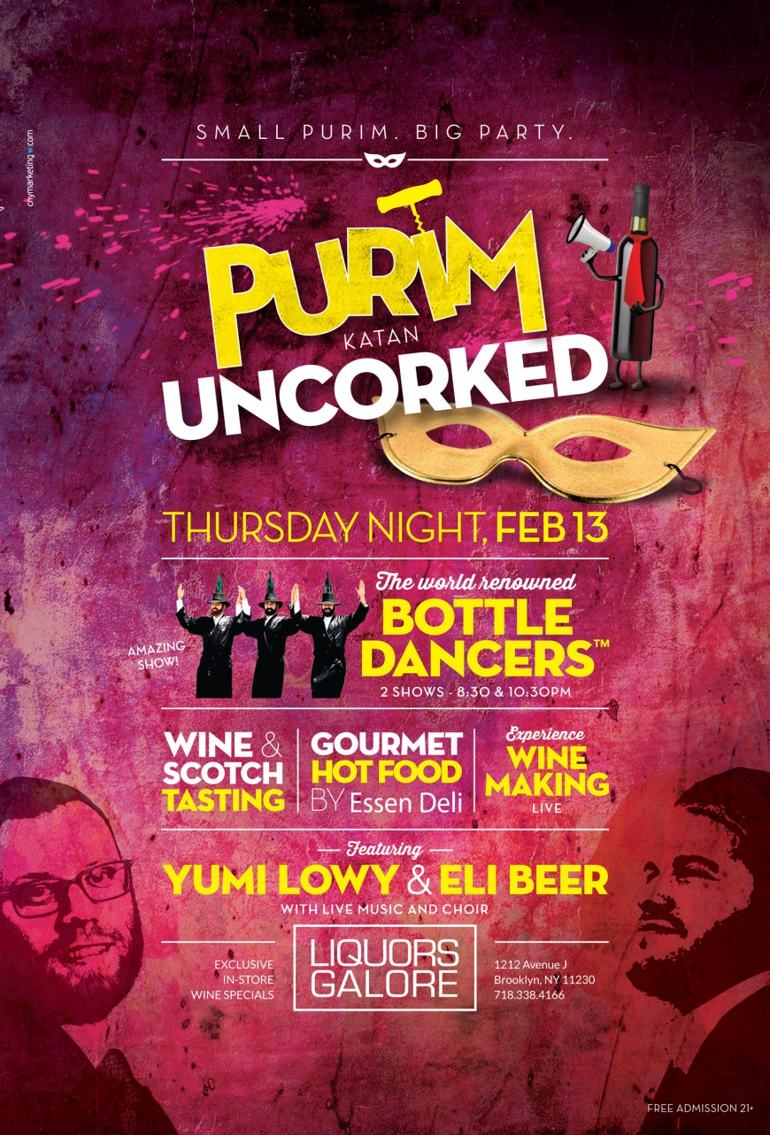 PURIM KATAN UNCORKED with YUMI LOWY, ELI BEER & The Bottle Dancers