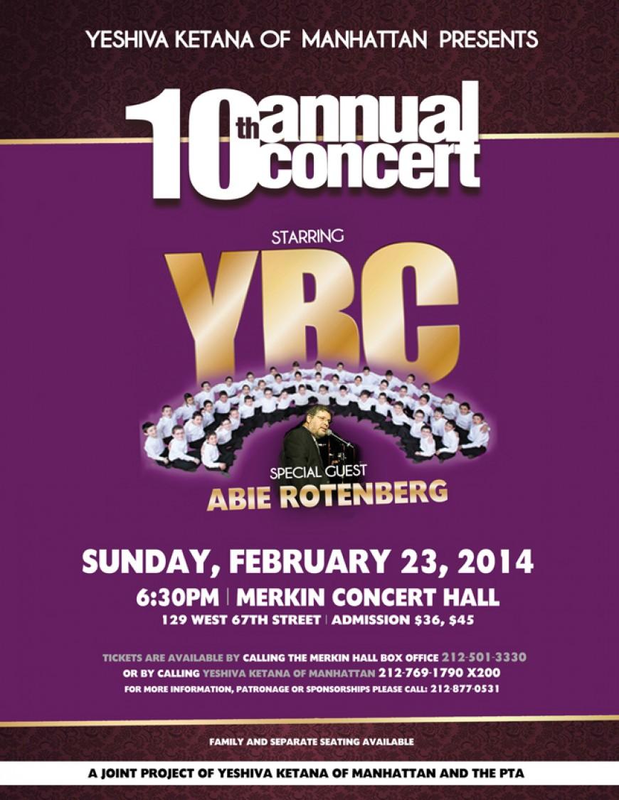 Yeshiva Ketana of Manhattan 10th Annual Concert with YBC and Abie Rotenberg