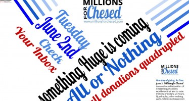 #MillionsForChesed – June 2nd at Noon – QUADRUPLE Your Impact!