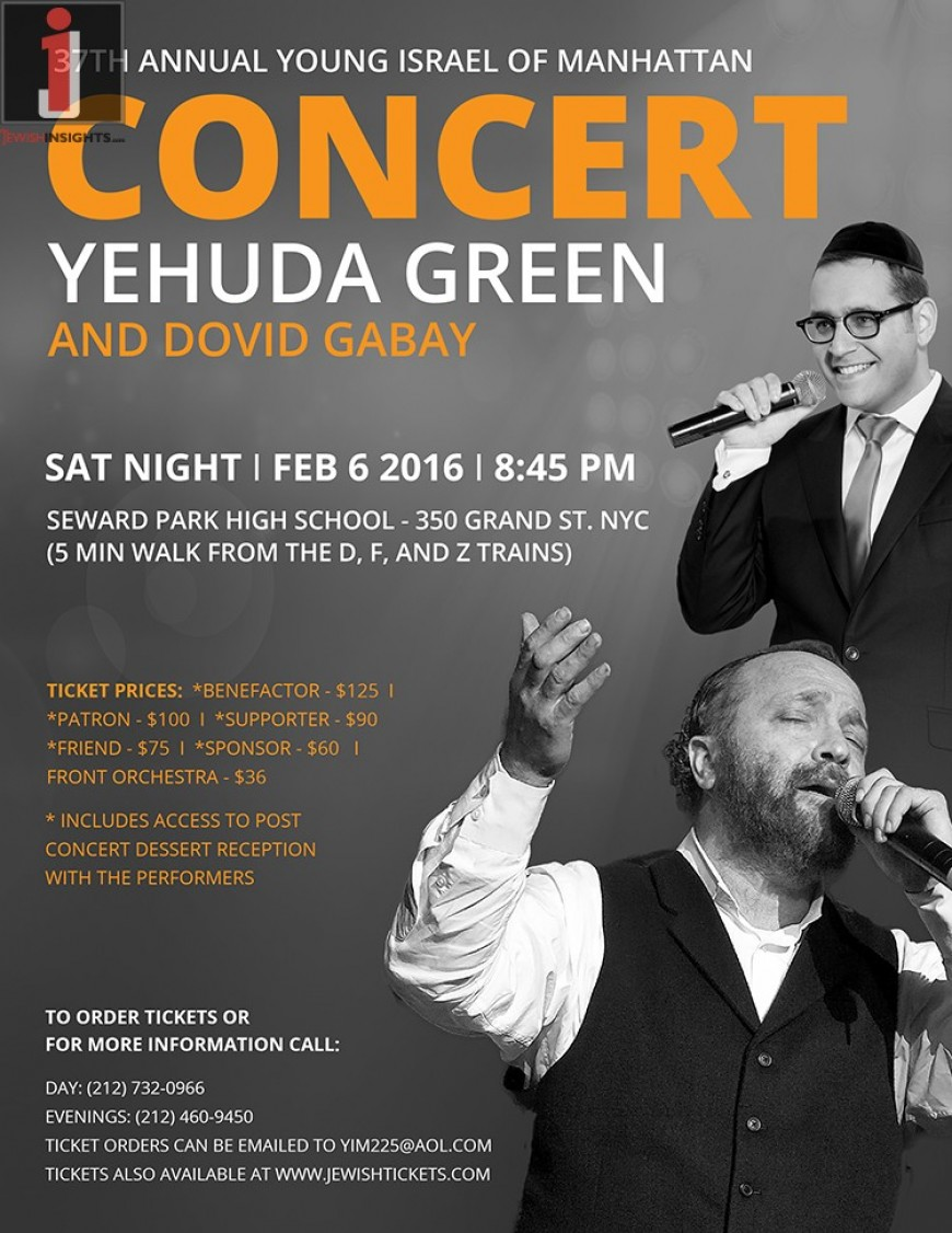 37th Annual Young Israel of Manhattan Concert: Yehuda Green & Dovid Gabay