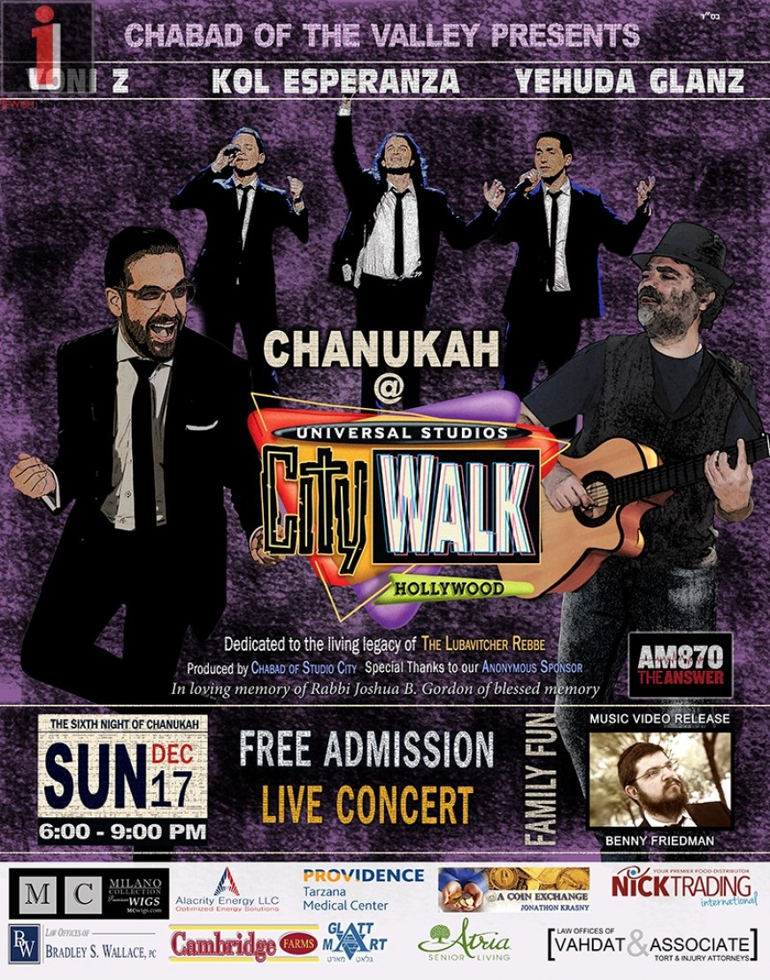 Universal CityWALK Chanukah Concert with YONI Z, Kol Esperanza & Yehuda Glantz