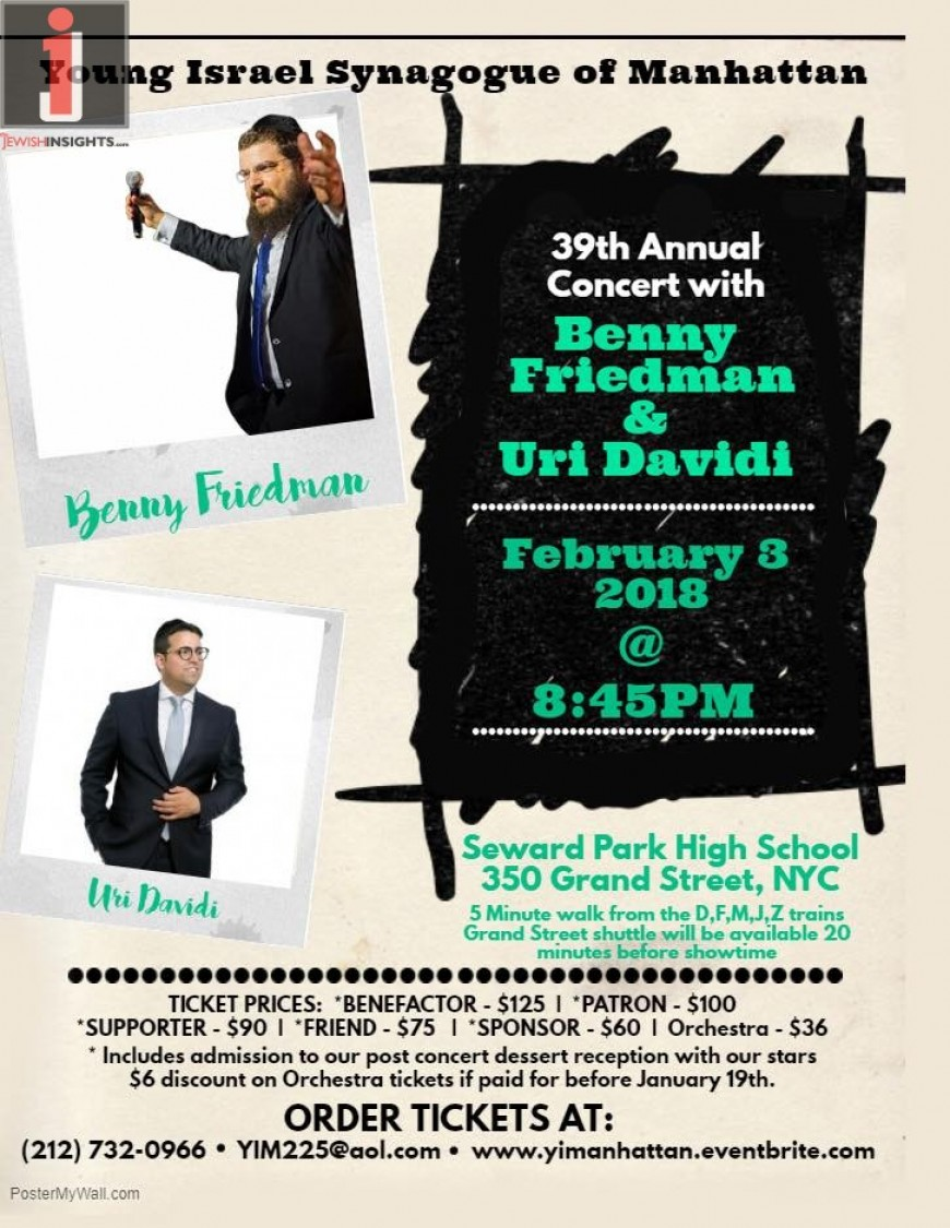 Young Israel Synagogue of Manhattan – 39th Annual Concert with BENNY FRIEDMAN & URI DAVIDI