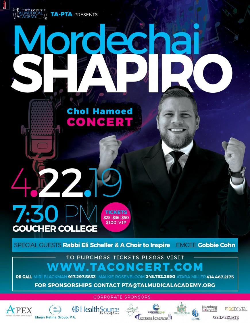 TA – PTA Presents: MORDECHAI SHAPIRO Chol Hamoed Concert