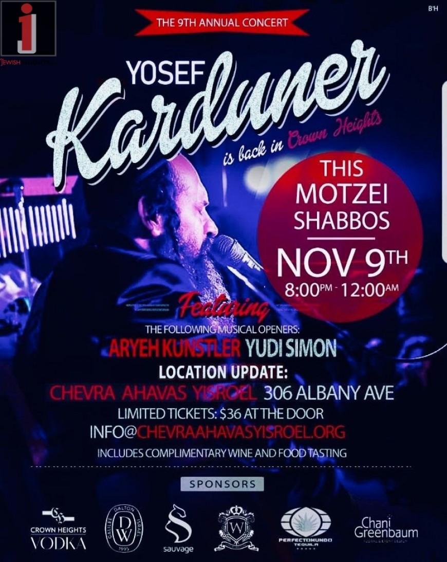 9th Annual Yosef Karduner Concert in Crown Heights THIS Motzei Shabbos